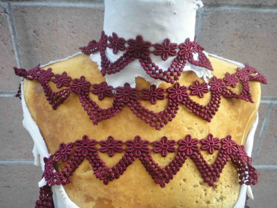 Very cute burgundy color venice lace 1 yard listing