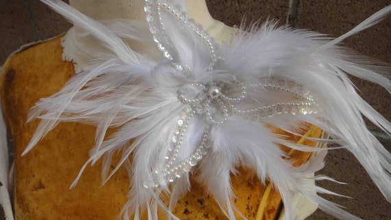 White feather flower with pearls  100 %  handmade   1 pieces listing  white     color