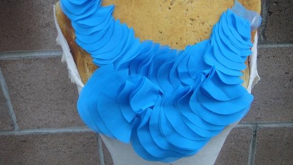 Cute chiffon  applique blue  color   1 pieces listing