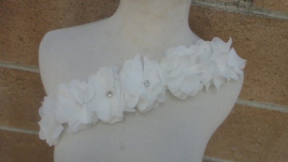 Cute white   color chiffon flower   applique  with rhinestones