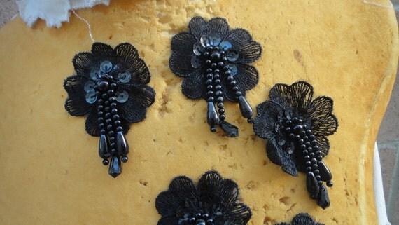 Cute beaded flower applique 5 pieces listing