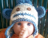 boys sock monkey hat ready to ship