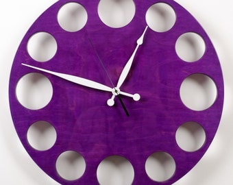 "POP Clock in Purple, 18"" Modern Wall Clock"