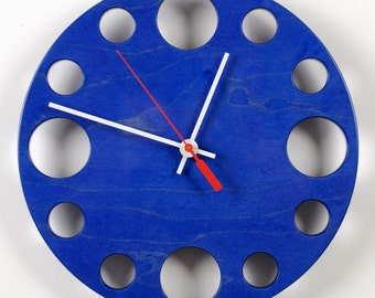 "POP Clock in Blue, 10"" modern wall clock"