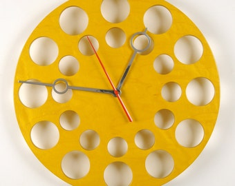 "POP Clock in Yellow, 18"" Modern Wall Clock"