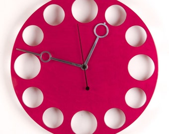 "POP Clock in Berry Red, 18"" Modern Wall Clock"