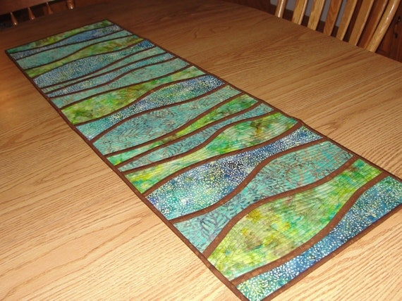 Quilted Curves Batik Table Runner