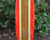 Red Classic Surfboard Tropical Wood Wall Art Solid Wood Vintage Home Office Tropical Beach Decoration Available in 2 3 4 5 and 6 foot sizes