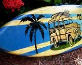3 Foot Woody No Problems Ocean Blue Tropical Surfboard Horizontal Wall Art Solid Wood