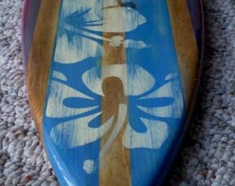 Blue 2 foot Vintage Surfboard Wall Art Solid Wood