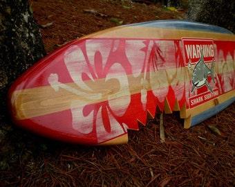 Horizontal Sharkbite Red Vintage Surfboard Wall Art Solid Wood Shark Bite Classic Wood Surf Decor