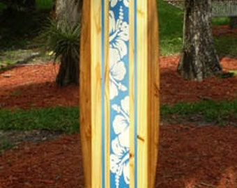 Blue Tropical Classic Solid Wood Surfboard Wall Art Home Decor Hibiscus Flowers Surf Vibe