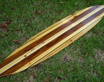Vintage Pinstripe Classic Vintage Solid Wood Surfboard Art Beach Tropical Available in 2, 3, 4, 5, and 6 Foot Home Office Decor
