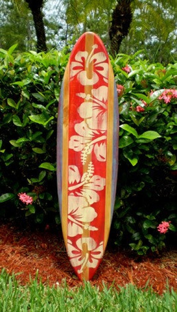 Vintage Red Surfboard Wall Art Solid Wood Surf Decor Home