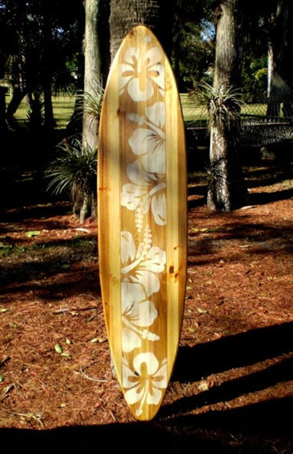 Natural 6 foot Vintage Surfboard Art Solid Wood Decor by ...