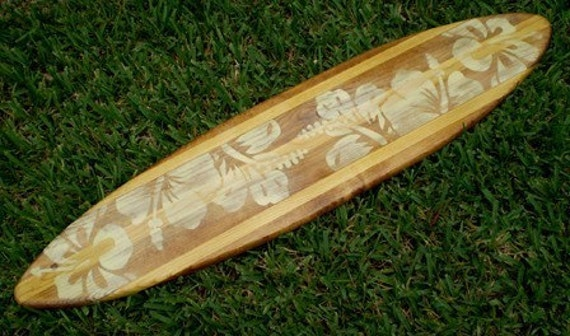 Vintage Nautral 4 foot Surfboard Wall Art Solid Wood