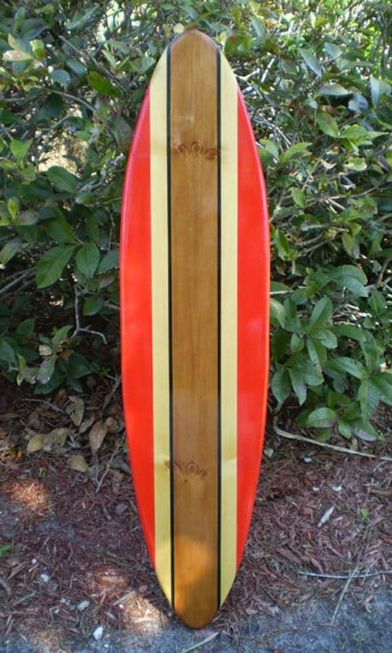 red classic surfboard tropical wood wall art solid wood. Black Bedroom Furniture Sets. Home Design Ideas