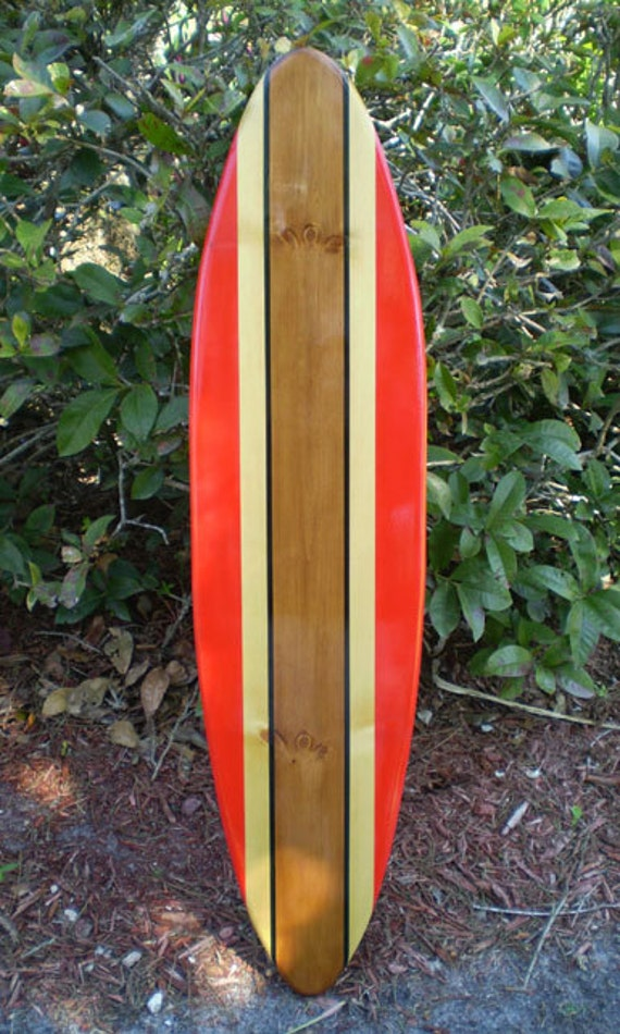 Red Classic Surfboard Tropical Wall Art Solid Wood By Decosurf