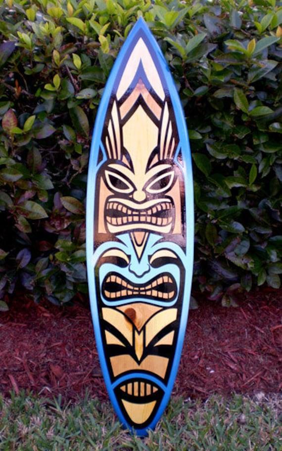 4 Foot Blue Spoon Tiki Surfboard Wall Art Tropical by decosurf