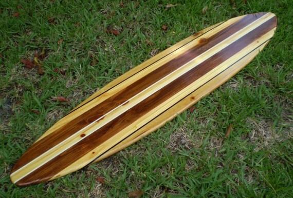 Pinstripe vintage classique vintage surf bois massif art beach for Planche de surf deco