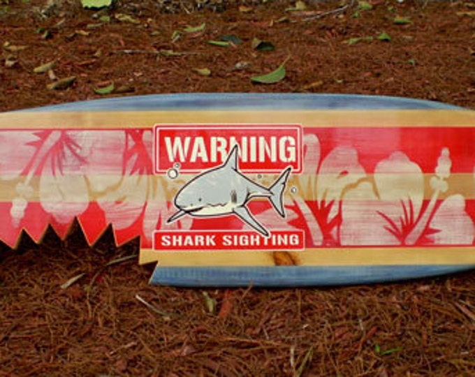 Featured listing image: Horizontal Sharkbite Red Vintage Surfboard Wall Art Solid Wood Home Decor Available in 3' 4' 5' and 6 foot sizes