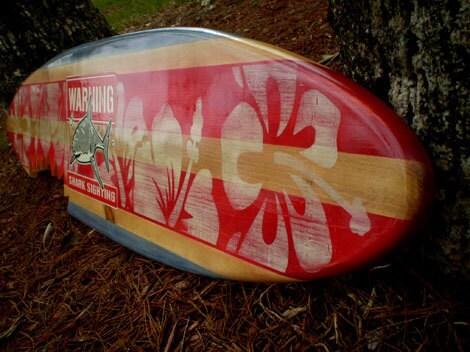 Horizontal Sharkbite Red Vintage Surfboard Wall Art Solid ...