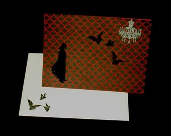 Bats in the Front Hall - Halloween Card - vampire, bats, gothic, samhain, adult, red and black, blank