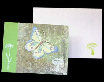 Spring Greens - OOAK Blank Card - butterfly, mushroom, flower, green, with envelope, summer, birthday, thank you