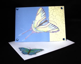 Blue and Yellow Swallowtail - OOAK Blank Greeting Card - butterfly, swallowtail, yellow, blue, birthday, thank you