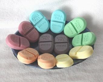 One Dozen Soap Party Favors - chill pills, novelty, gag soap, pharmacy, nurse, doctor, medical, medicine, graduation, baby shower