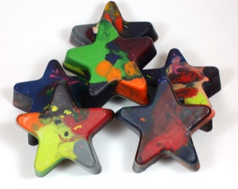 6 Large Star Recycled Crayons - reuse, party favors, school supplies, coloring, art, drawing, halloween, trick or treat
