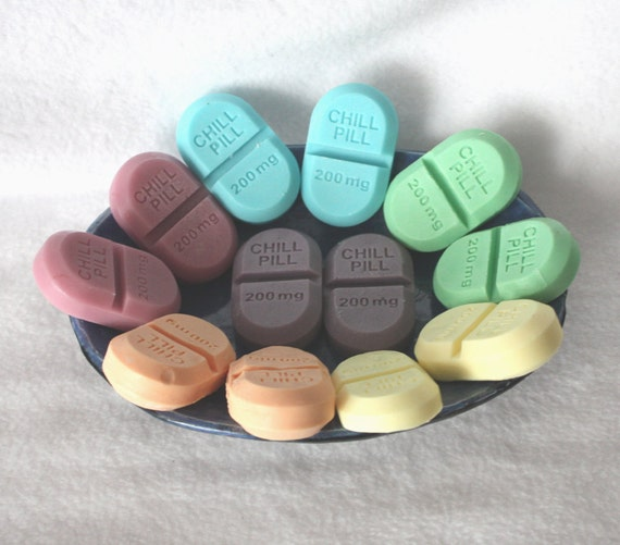 One Dozen Soap Party Favors - chill pills, novelty, gag soap, pharmacy, nurse, doctor, medical, medicine, graduation, baby shower