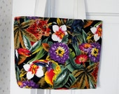Fabric Shoulder Purse Caribbean Tropical Print