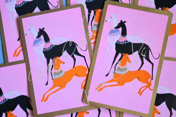 LAST Set of 6 -- Vintage Retro Greyhounds Pink Playing Cards Swap Cards -- VPC019