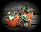 Primitive Folk Art Halloween Fall Orange Pumpkin Ornies Set Of 3-FAAP