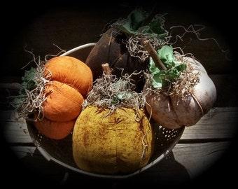 Harvest Time Primitive Pumpkins Set Of 4