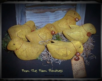 Primitive Spring Folk Art Easter Baby Chick Peepers -Set Of 3
