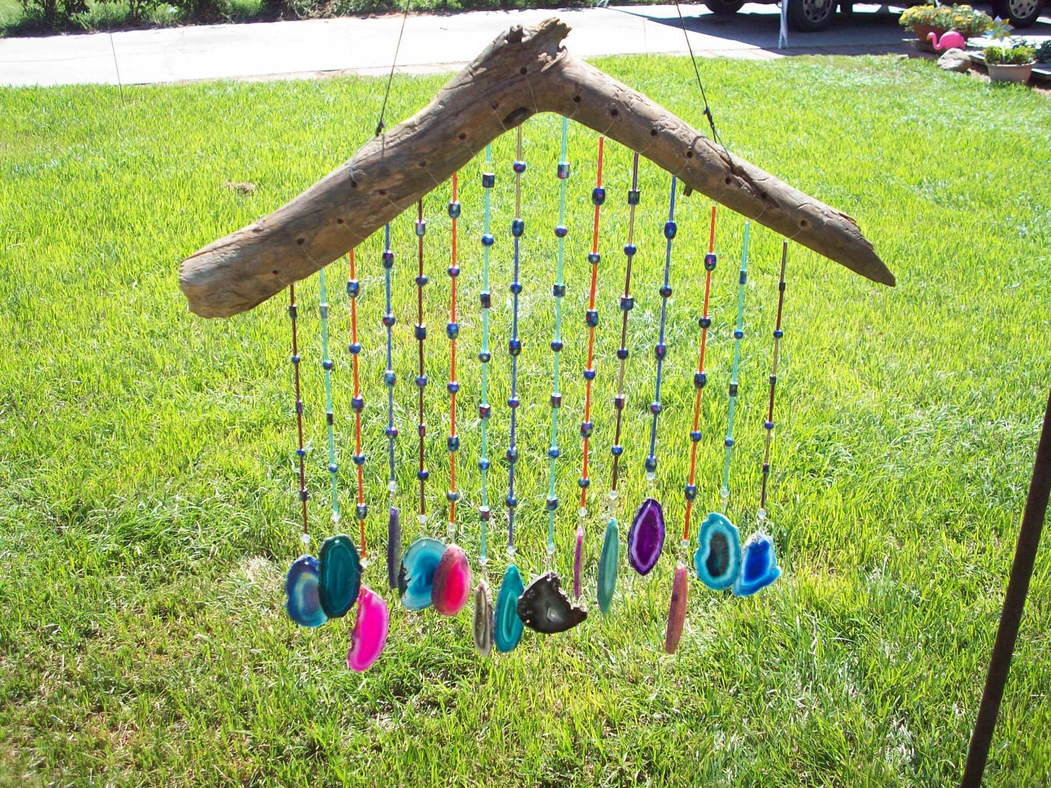 unique wood and agate wind chime with colorful tube beads and. Black Bedroom Furniture Sets. Home Design Ideas