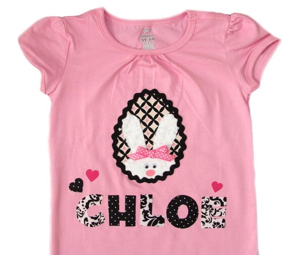 Personalized Priscilla The Bunny Uptown Girl Easter Egg Tee & FREE M2M Hair Bow