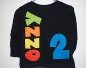 Birthday boy shirt with custom name and age applique, short or long sleeved