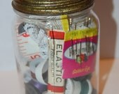 VintageJar of Sewing Notions with Glass and Metal  Lid-sewing-buttons-thread-tape-needles