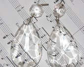 Vintage Chandelier Crystals-Tear Drop-antique wire-a Pair-French Decor-Shabby Chic