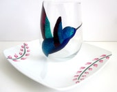 Teal Hummingbird and Flowers- Painted Plate and Wine Glass Duo