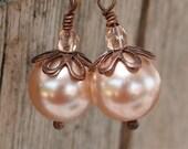 Rosaline Pearl, Czech Glass, Copper Earrings