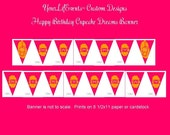 Cupcake Birthday Party Printable Pennant Banner - Instant Download DIY Cupcake Dreams Printable Birthday PENNANT BANNER