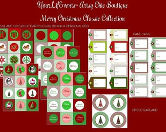 Merry Christmas Classic Design Collection DIY - Package of Pre-printed Party Graphics