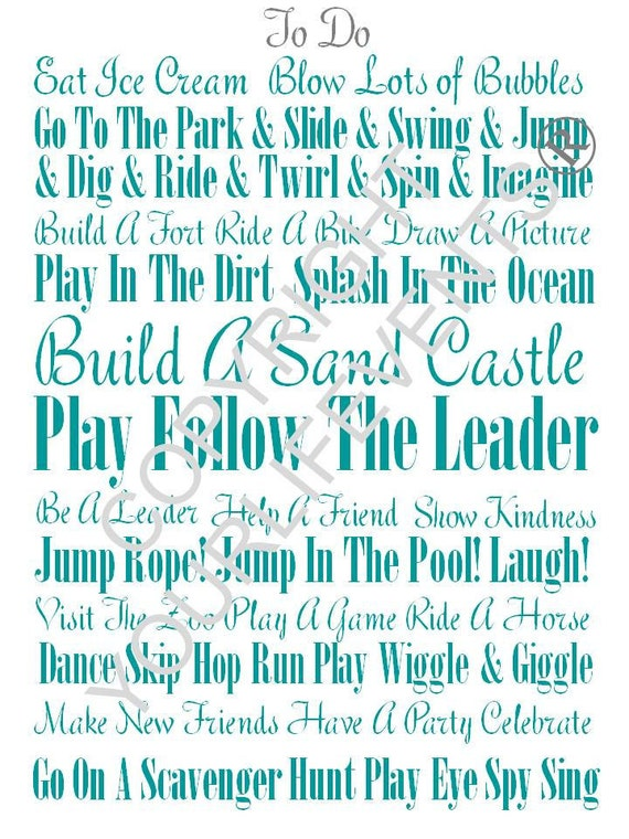 Printable Subway Wall Art - Kids Fun 'To Do' List - Instant Download - Teal