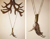 Sister Wolf Bullet Feather Necklace