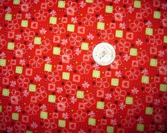 1 Yard ELLIE FUN Cotton Fabric Flower And Heart Print On Red BTY