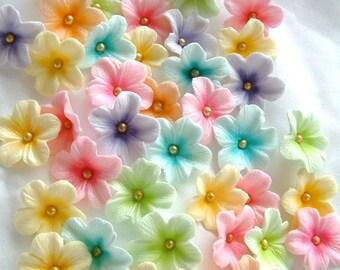 Cake Decorations Gum Paste Blossoms Pastel Colors 30 piece set Easter